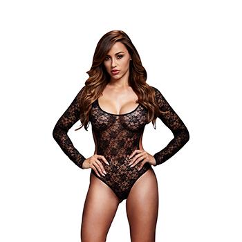 Baci - Black Lacy Bodysuit Back Cutout One Size