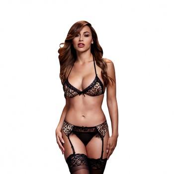 Baci - Leopard & Lace Bra Top & Garter & Panty One Size