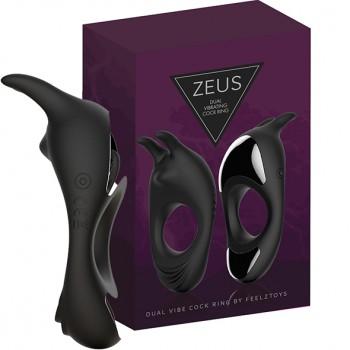 FeelzToys - Zeus Dual Vibe Cock Ring Black