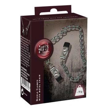 Krūšgalu klipši Klasika - Boob Chain + Nipple Clamps SX